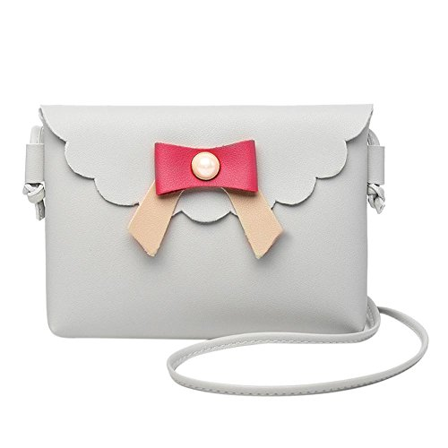 Flap Bags Women Grey Everpert Casual Shoulder PU Bowknot Messenger Leather Pearl Bag Girl AftgqF