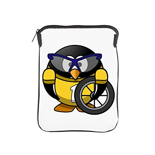 iPad 1 2 3 4 Air II Sleeve Case (2-Sided) Little Round Penguin - Cyclist in Yellow Jersey