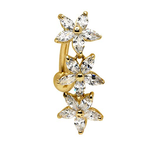 JewelryWeb Solid 14k Yellow or White Gold Marquise Flower Cubic Zirconia CZ Top Mount Belly Button Ring Dangle (7mm x 24mm) (Yellow-Gold) ()