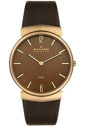 Skagen Men's 695XLRLD Steel Collection Brown Leather Brown Dial Watch