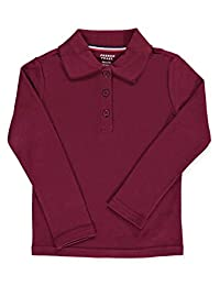 French Toast Little Girls' L/S Fitted Knit Polo With Picot Collar - burgundy, 4/5