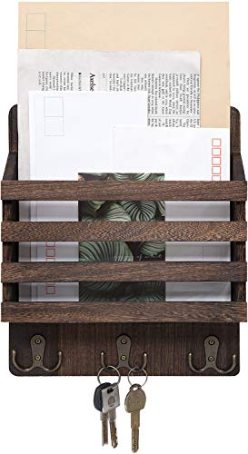 Mkono Mail Sorter Organizer Wood Key Holder Organizer, Rustic Wall Mail Holder with 3 Key Hook Rack, Wall Mount Letter Bills Magazine Coats Organizer for Home Entryroom, Office,Brown (Wall Mail Organizers)