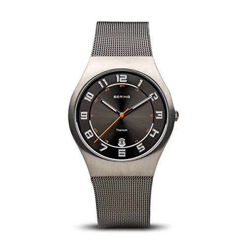 BERING Time 11937-007 Mens Titanium Collection Watch with Mesh Band and Scratch Resistant Sapphire Crystal. Designed in Denmark.