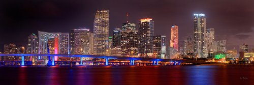Miami Skyline PHOTO PRINT UNFRAMED NIGHT COLOR Downtown City 11.75 inches x 36 inches Photographic Panorama Poster Picture Standard Size from photosbyjon