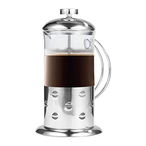Tonysa – Taza de café de Cristal y Acero Inoxidable, para Preparar café, té, café, etc. con Cuerpo de Cristal Templado…