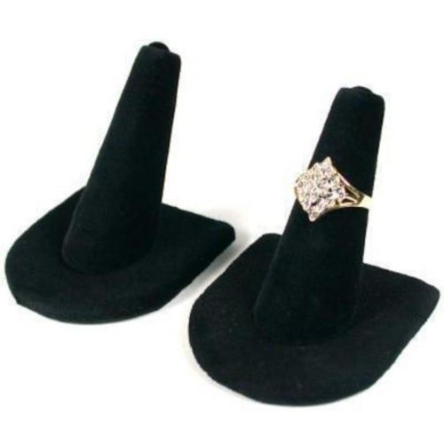 2 Black Velvet Ring Finger Jewelry Holder Showcase Display Stands (Black Ring Holder)