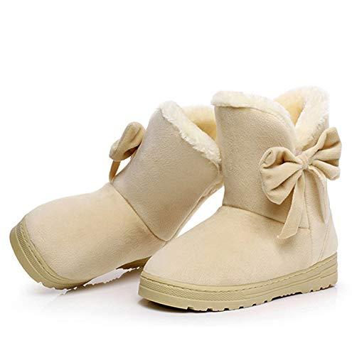 (Snow Boots Winter Female Ankle Boots Warmer Plush Bowtie Fur Suede Rubber Flat Slip On Platform Women's Shoes Beige)