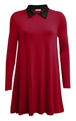 Fashion 4 Less - Vestido - Columpio - Manga Larga - para mujer Rojo