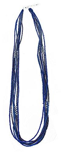 Collier Sautoir en Métal Argenté et Rocaille 7 Rangs - Bleu - 94cm