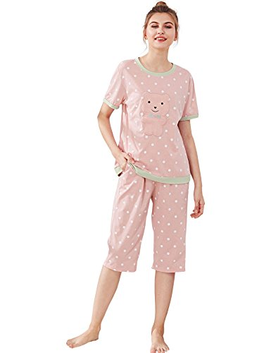 (SheIn Women's Polka Dot Tee & Capri Pants Pajamas Set Sleepwear XX-Large)