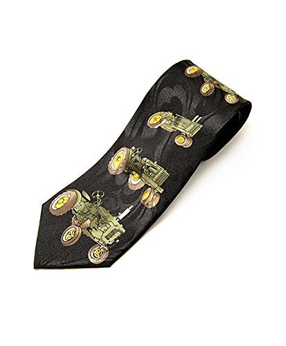 Parquet Mens John Deere Tractor Farm Necktie - Black - One Size Neck Tie -