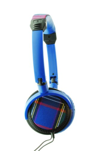 Urbanz Tartan Fashion Headphones - Blue