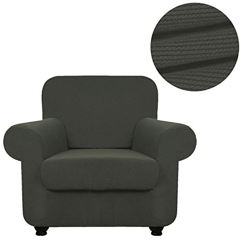 ANJUREN Sofa Loveseat Couch Chair Slipcover Cover with Separate Seat Cushion Cover 2 Piece 1 Seater T Cushion Armchair Slipcovers Stripes Stretch Living Room Furniture Shield Protector (Chair, Gray)