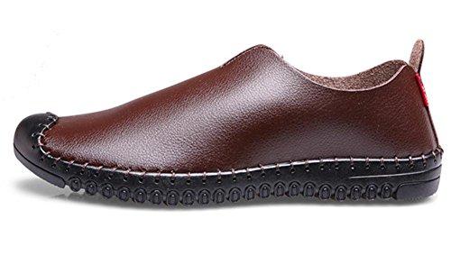 Hombres Hecho a mano Cuero Zapatos Pisos Suave Fondo Negocio Casual Respirable Negro marrón Brown