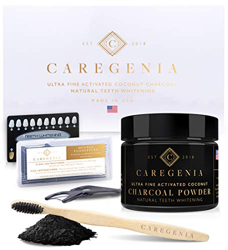 Caregenia Activated Coconut Charcoal Teeth Whitening Kit Whiter Teeth in 2 Uses Used by Celebrities Made in USA Vegan No Sensitivity