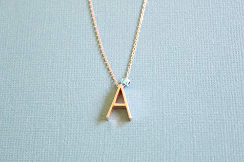 (Rose Gold Letter A Initial Sterling Silver Necklace with Evil Eye,16.9'' to 17.7'' Adjustable Chain by Handmade Studio)