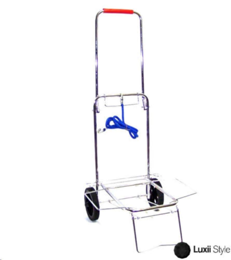 New Chrome Folding Utility Cart Luggage Hand Dolly Portable Travel Laundry