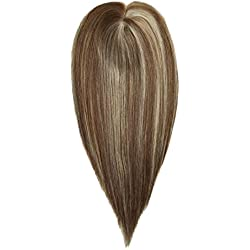 Uniwigs Remy Human Hair Mono Hairpiece, Hand Made Tied Hair Topper, Straight 16 Inches, Add Hair Volume Instantly for Hair Loss