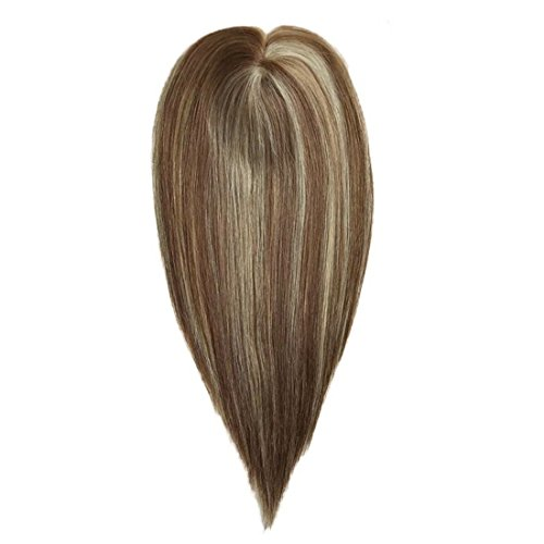 (Uniwigs Remy Human Hair Mono Hairpiece, Hand Made Tied Hair Topper, Straight 16 Inches, Add Hair Volume Instantly for Hair Loss)