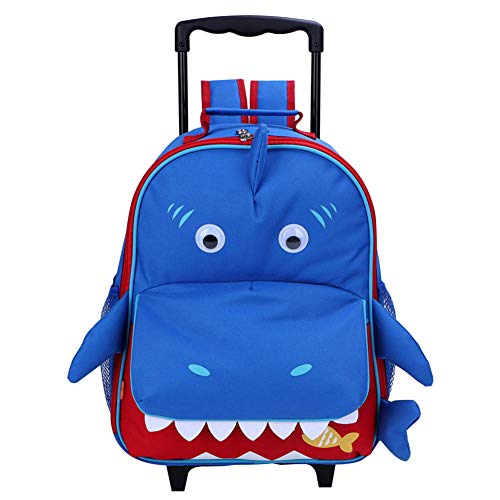 Yodo 3-Way Toddler Backpack with Wheels Little Kids Rolling Suitcase Luggage, Shark