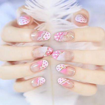YUNAI uñas postizas - El fantástico y estilo princesa MD-larga de color rosa perla