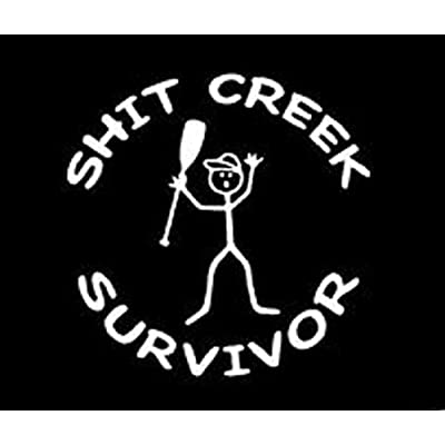Keen Shit Creek Survivor Vinyl Sticker Decal | Cars Trucks Vans Walls Laptop | White | 5 x 5 In | KCD299: Automotive