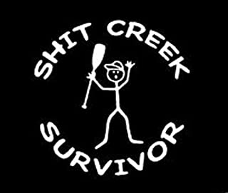 product image for Keen Shit Creek Survivor Vinyl Sticker Decal | Cars Trucks Vans Walls Laptop | White | 5 x 5 In | KCD299