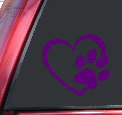 ShadowMajik Heart and Paw Print Vinyl Decal Sticker (4