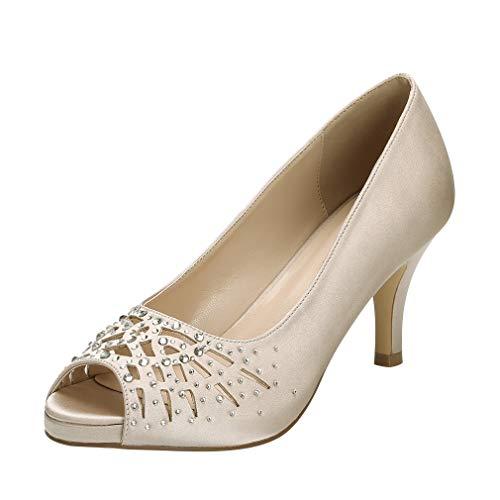 ERIJUNOR E1941 Women Peep Toe Rhinestones Pumps Comfort Platform Low Heel Satin Wedding Bridal Evening Dress Shoes Champagne Size 9
