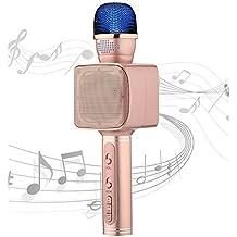 Portable Bluetooth Karaoke Speaker YS-68 Handheld Microphone Karaoke Machine Smart 3 in 1 microphone for Android IOS smartphone tablet laptop by SU.YOSD(Pink)
