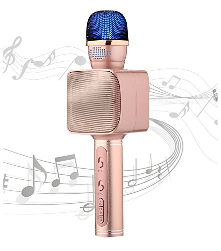 Portable Bluetooth Karaoke Speaker YS-68 Handheld Microphone Karaoke Machine Smart 3 in 1 microphone for Android IOS smartphone tablet laptop by SU.YOSD(Pink) by SU·YOSD