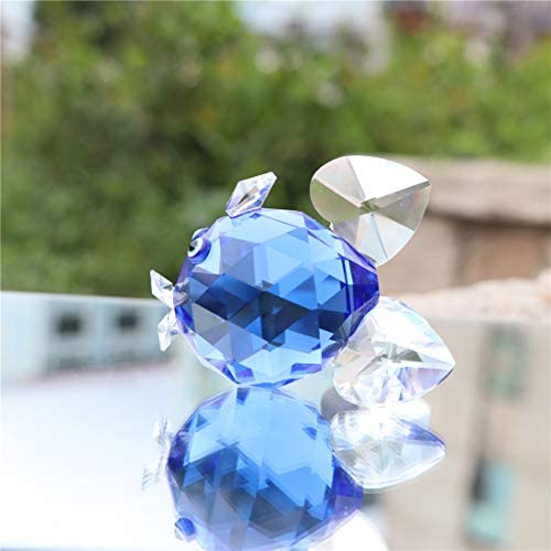 ltd Waltz/&F Crystal Blue Goldfish Figurines,Glass Animal Paperweight,Collectible Figurines for Gift Dongguan city guchu trading co
