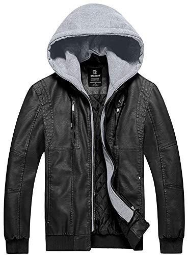 (Wantdo Men Windproof Faux Leather Jacket Jacket with Removable Hood L Black )