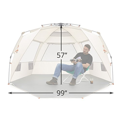 Easthills Outdoors Easy Up 4 Person Beach Tent Sun Shelter Deluxe XL – Extended Zippered Porch Included