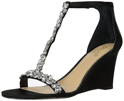 Badgley Mischka Jewel Women's Meryl Wedge Sandal, Black Satin, 6.5 M US
