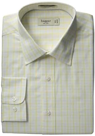 Haggar Men's Regular Fit Poplin Long Sleeve Pattern Dress Shirt, Light Yellow, 14.5(32/33)