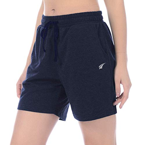 - EZRUN Women's Workout Jogger Shorts Lounge Activewear Gym Yoga Sweat Shorts with Pockets(Navy,M)