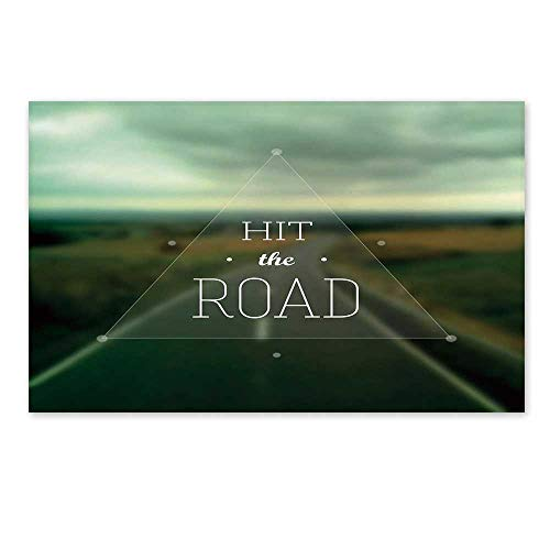 Highway Triangle (C COABALLA Adventure Stylish Door Mat,Hit The Road Quote Inside a Transparent Triangle with Blurred Highway Background for Office Home,19.6