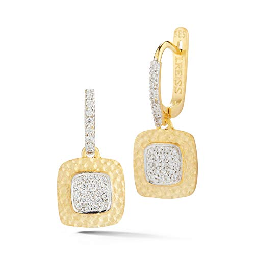 14K Yellow Gold 0.32ct TDW Diamond Hammer-finished Square Dangling Earrings ()