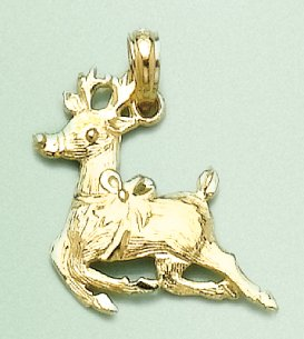 14k Gold Holiday Necklace Charm Pendant, Christmas Reindeer