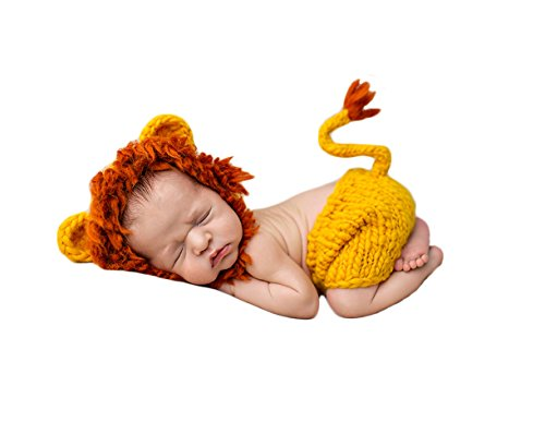 [Rainbowlight Newborn Baby Photography Prop Costumes Handmade Knitted Crochet Cute Animals Outfit Set] (Lion Newborn Costumes)