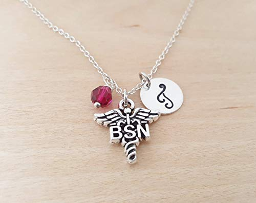 BSN Nurse Necklace - Medical Charm- Personalized Initial Sterling Silver Custom Jewelry - Gift for Her