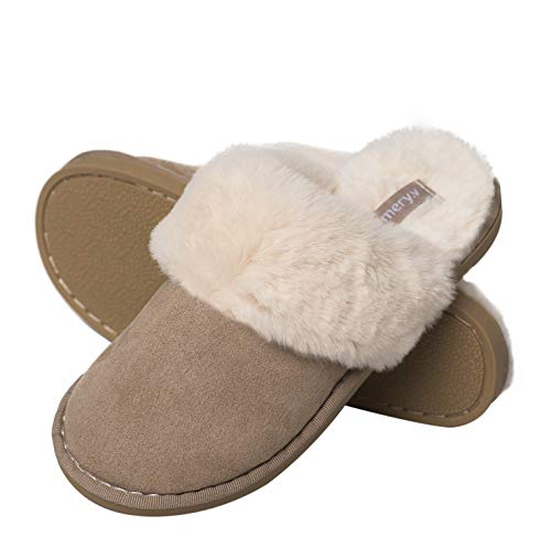 Womens Slippers,Memory Foam Fluffy Warm Non-Slip Comfortable Slip-on House Shoes,Plush Indoor & Outdoor Winter Light Brown 27 ()