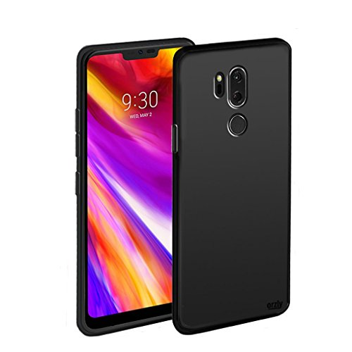 Orzly LGG7 Case FlexiCase for LG G7 ThinQ (2018 Model Names - ThinQ/LG G7+ / G710EM) - Protective Flexible Silicon Gel Phone Case - Black (Orzly Slim Rim Case)