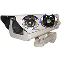 Evertech Housing CCTV Security Surveillance Outdoor Camera Box with Night Vision Infrared and Blower/Cooler Weatherproof Heavy Duty Aluminum - Brackets included