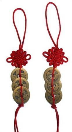 Jiewei Chinese Red Enless Knot Feng Shui Coins to Attract Wealth and Health - 2 sets