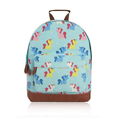 Craze London New KIDS Childrens Designer Style Canvas UNICORN Print Backpack Bag JC Kids 'Back to School' Collection Turquoise