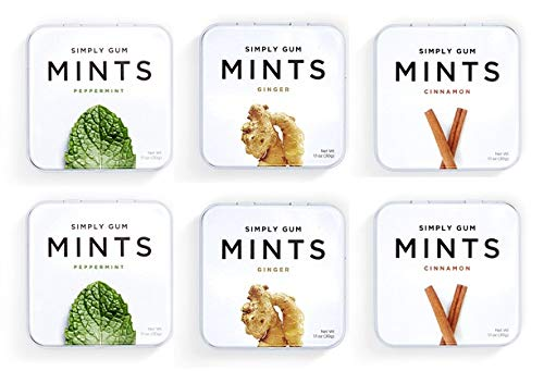 Natural Breath Mints by Simply Gum - 6 Tins (270 pieces)