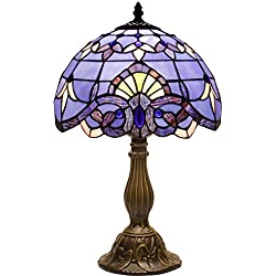 Blue Purple Baroque Tiffany Table Lamp Wide 12 Height 18 Inch for Bedside Desk Lamp