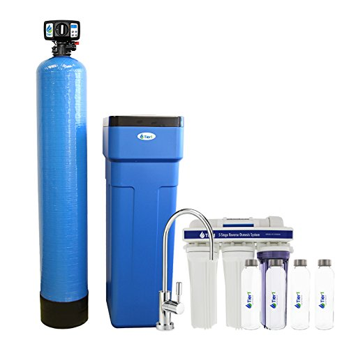 Reverse Osmosis Water Softeners - Tier1 48,000 Grain Capacity Water Softener + 5-Stage Reverse Osmosis Drinking Water Filter System and 4 Glass Water Bottles